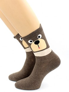 Хлопковые высокие женские носки с кошечками и собачками