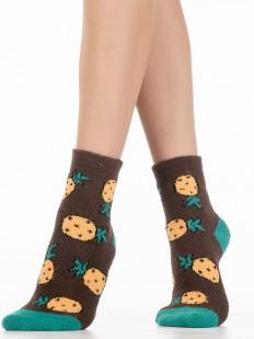 Махровые разноцветные женские носки с ананасами