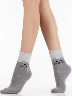 Детские теплые носки из шерсти ангоры с рисунком кошечки