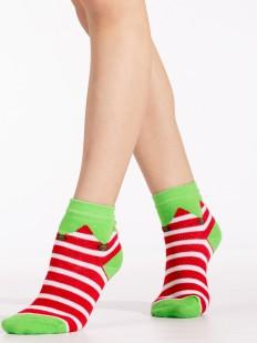 Новогодние детские носки в полоску с эльфийским принтом