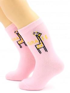 Детские розовые носки хб для девочек с жирафом