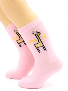 Подростковые розовые носки хб для девочек с жирафом