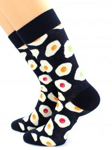 Высокие хлопковые носки унисекс с глазуньей