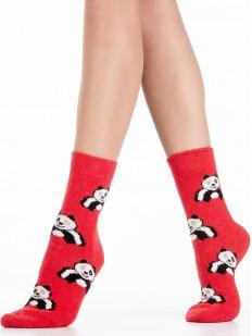 Высокие красные теплые женские носки с пандами