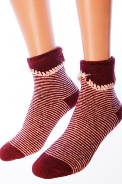 Женские теплые полосатые носки с манжетой и шерстью ангоры Hobby Line 6171