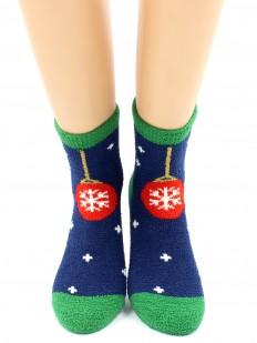 Махровые теплые женские новогодние носки с елочными игрушками