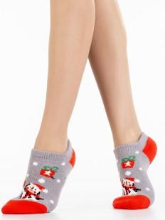 Короткие новогодние женские носки с пингвином