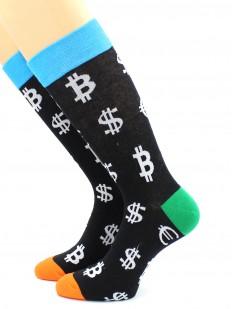 Разноцвентные носки с символами валюты - доллар, евро, биткоин