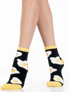 Махровые черные женские носки с принтом яичницей