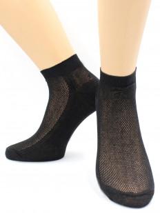 Женские короткие хлопковые носки в сеточку черные