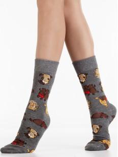 Хлопковые яркие носки унисекс в подарок с принтом пиво