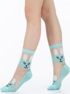 Цветные детские носки с зайчиками и прозрачной вставкой