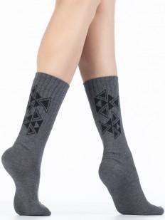 Высокие серые женские хлопковые носки с рисунком
