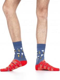 Мужские цветные носки с ярким строительным принтом