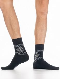 Теплые мужские носки с шерстью ангоры и снежинками
