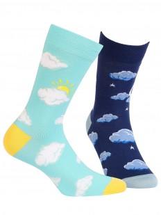 Прикольные хлопковые носки унисекс с облачками