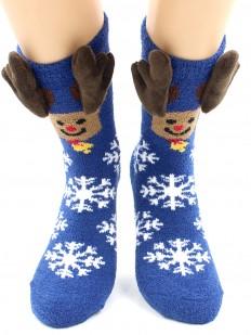 Махровые теплые женские новогодние носки с объемной аппликацией оленя