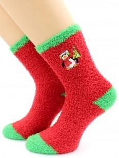 Махровые высокие женские новогодние носки с пингвином