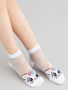 Прозрачные детские носки с кошечками и цветными полосками