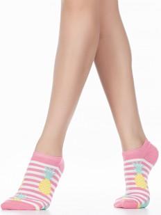 Короткие женские летние носки в полоску с ананасами
