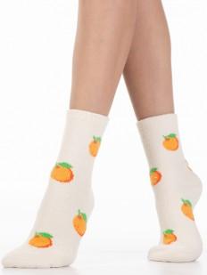 Махровые женские носки с яркими апельсинками