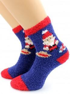Новогодние женские махровые носки с принтом