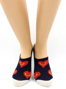 Короткие женские носки хлопковые с сердечками