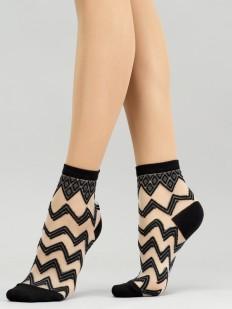 Модные укороченные женские носки с рисунком зигзаг