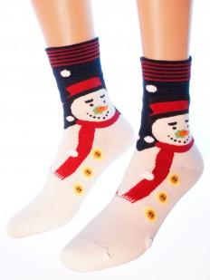 Женские высокие хлопковые новогодние носки со снеговиками