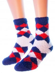 Новогодние женские махровые носки с геометрическим рисунком