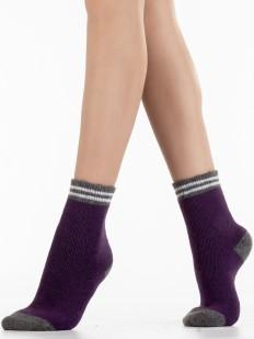 Детские теплые носки из шерсти ангоры с полосками на резинке