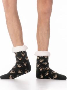 Теплые мужские носки с меховым отворотом и принтом лампочка Эдисона
