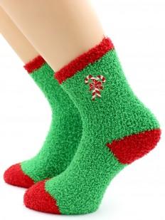 Махровые высокие женские новогодние носки с леденцами
