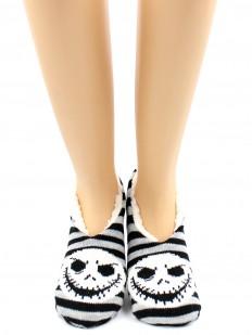 Короткие теплые женские носки тапочки в полоску и принтом Джек