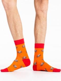 Оранжевые новогодние мужские носки с оленями