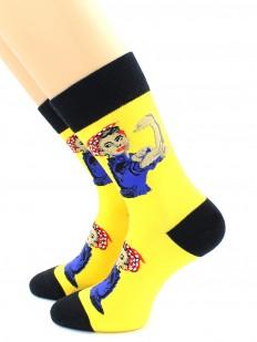 Высокие женские носки с цветным принтом WE CAN DO IT