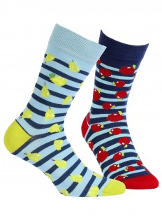 Прикольные яркие носки унисекс в полоску с фруктами