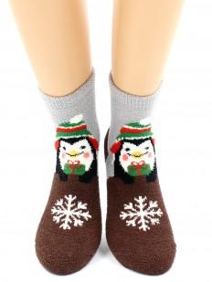 Махровые теплые женские новогодние носки с пингвином