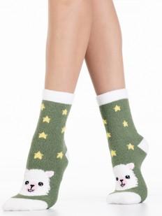Махровые зеленые женские носки со звездами и ламами