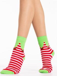Новогодние женские эльфийские носки в красную полоску