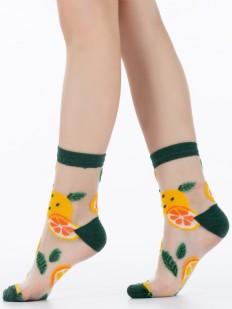 Детские цветные носки с принтом апельсины на прозрачной мононити