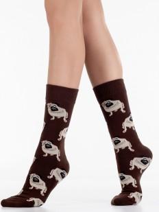 Оригинальные хлопковые носки унисекс с рисунком мопсы