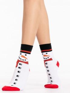 Высокие белые новогодние женские носки со снеговиком