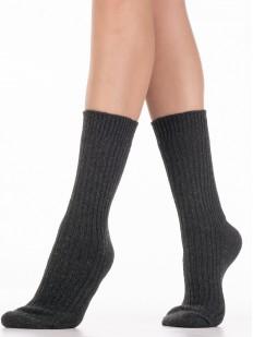 Высокие теплые женские носки в рельефную вертикальную полоску