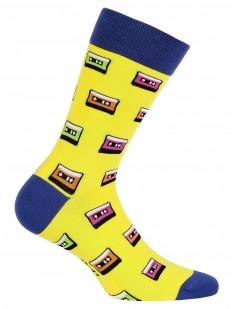 Цветные мужские высокие носки хб с принтом кассеты