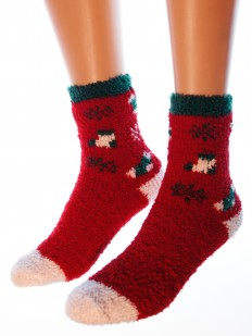 Махровые женские носки с рисунком на Новый Год