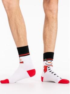 Белые новогодние мужские носки со снеговиками