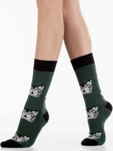 Высокие хлопковые носки унисекс с принтом в виде волков