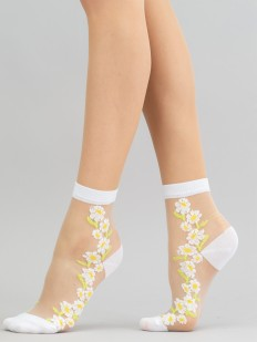 Модные женские носки из прозрачной мононити с рисунком ромашек