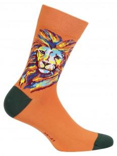 Оранжевые мужские носки хлопковые с принтом льва